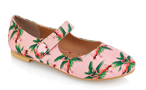 Lulu Hun RUBY Tropical FLAMINGO Vintage Riemchen FLATS Ballerinas Rockabilly