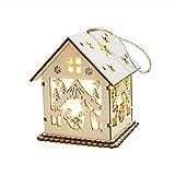 TAOtTAO Beleuchtete Kabine LED-Licht aus Holz Puppenhaus Villa Weihnachtsschmuck Weihnachtsbaum hängen Dekor (A)