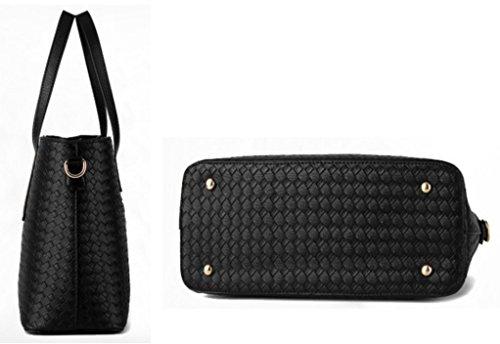 Tibes modo dell'unità di elaborazione della borsa del cuoio + Shoulder Bag + Purse 3pcs Bag Beige