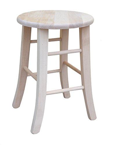 Hocker aus Holz roh mit runder Sitzfläche und Füße mit Säbel (47) (Runde Sitzfläche 47)