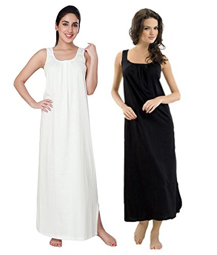 Avaatar Women's Cotton Nighty Slip(AWLS-01_Black and White_Medium) - Set of 2