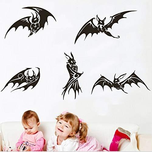 Waofe Fünf Schwarze Fledermäuse Gotik Scarying Wandbild Nicht Nur Für Halloween Special Decor Tier Serie Kunst Wohnkultur 33 * 69Cm