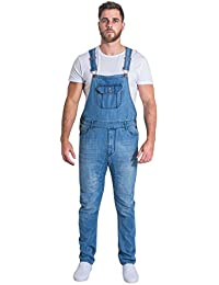 Uskees Jesse Slim Fit Mens Dungarees - Pale Wash Mens Denim Overalls Slim Leg JESSEPW
