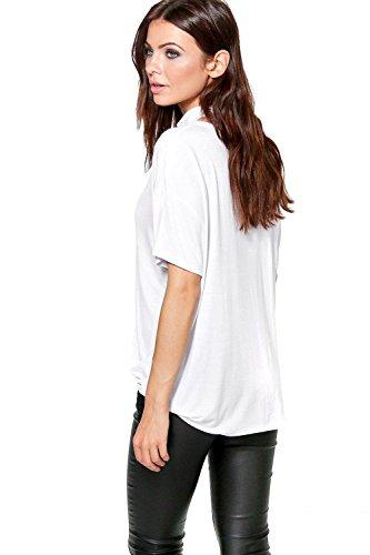 Blanc Femme Zoe Cross Over Choker Detail T-Shirt Blanc