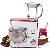 Geepas 1000W 5 in 1 Stand Mixer with Jug Blender & Coffee Ingredients Grinder | 5.5L Mixing Bowl, Beater, Whisk & Dough Hook | 1.5L Jug Smoothies Blender & Protein Shakes - 2 Year Warranty