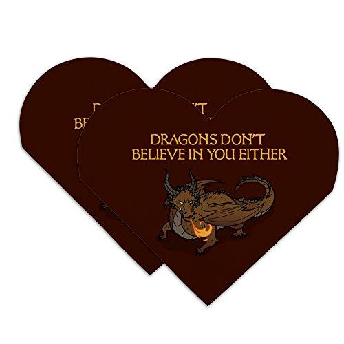 Drachen Don 't Believe in Sie entweder Herz Kunstleder Lesezeichen–Set von - Liebe Drache Mit Flammen Der