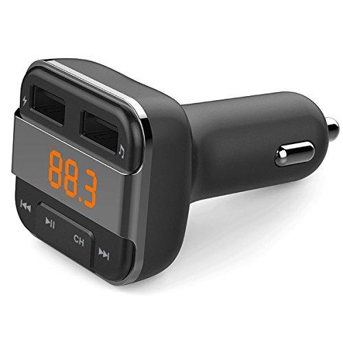 perbeat Bluetooth FM Transmitter Auto mit 2USB Ladekabel 3,4A Ausgang Anschlüsse, unterstützt USB-Stick Micro SD Karte mit Musik-Fernbedienung (schwarz)