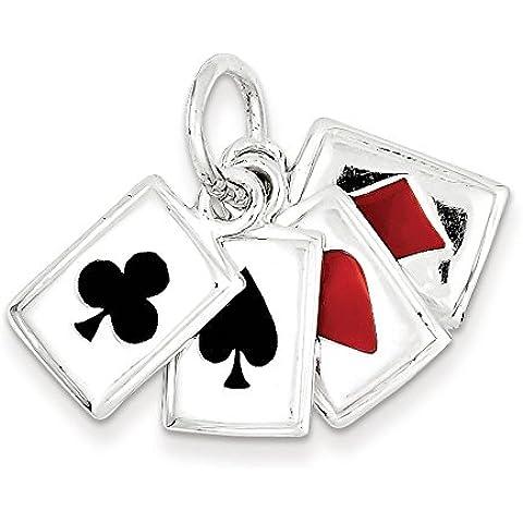 Sterling Argento Smaltato carte da gioco Charm