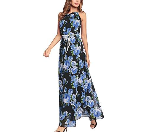 LQABW 2018 Frühling Neue Weibliche Kleid Halter Sexy Lace Print Mädchen Kleid,Blue-S (Print Top Halter Petite)