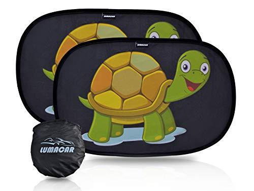 Lumacar - tendine parasole auto bambini nere, tessuto 80 gr/mq, tende parasole auto per bambini, protezione solare raggi uv, tendine auto bambini, universale 2 pezzi 50x30 cm, oscurante, con 4 ventose