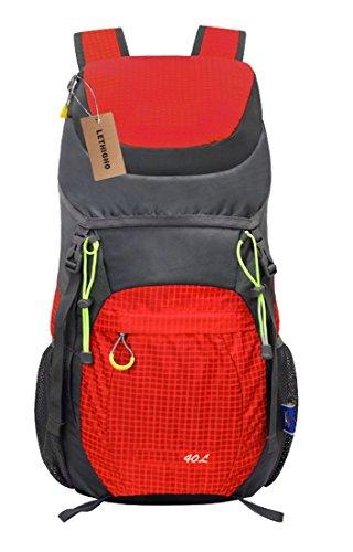 LETHIGHO 40L Ultra Leggero Pieghevole Bag Durable Water Resistant Zaino Escursionismo Escursioni in Bicicletta Sport da Viaggio Zaino Daypack Blu Rosso