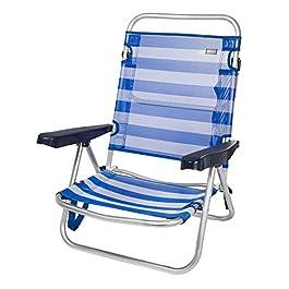 Aktive 53954 – Sedia Pieghevole Multiposizione Alluminio Beach 108x60x78 cm – Blu