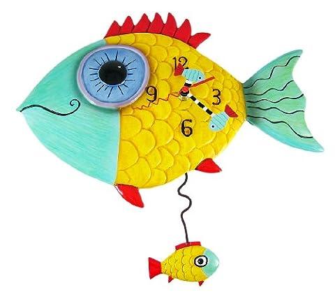 Portant Fishy'Allen Designs-Horloge murale avec pendule-Poisson