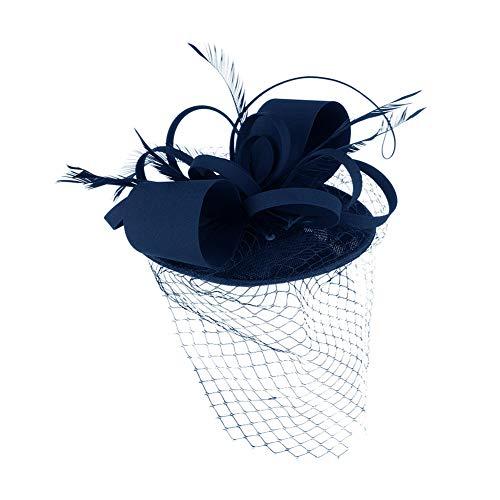 TBATM Women Fascinator Hat, Handmade Feather Mesh Cap Bridal Headdress für Cocktail Wedding Tea Party Bankett Cocktail Kirche,Navy Navy Womens Cap