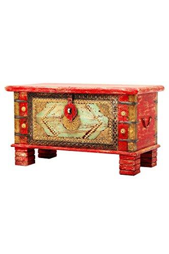 Orientalische Truhe Kiste aus Holz Chalil 80cm groß | Vintage Sitzbank mit Aufbewahrung für den...