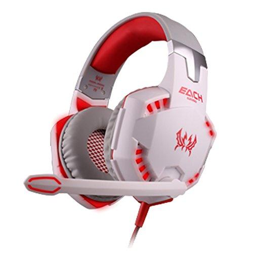 Tsing-Gaming-Headset Over-Ear-Kopfhörer mit Mikrofon für PC Computer rot -