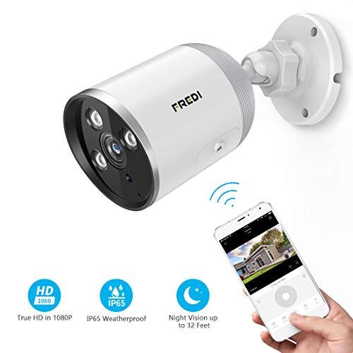 FREDI Cámara de vigilancia para Exteriores, 1080P HD inalámbrica Seguridad Bullet cámara/Impermeable IP66, Visión Nocturna, Detección de Movimiento/Cámara con Audio bidireccional