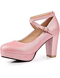 Coolulu Mujer Zapatos de Tacón Alto y Ancho con Plataforma Punta Cerrada  Tira al Tobillo con Hebilla Calzado Elegante para Primavera y… b6cc742e1791