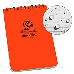 "Rite in the Rain Weatherproof Top Spiral Notebook, 4"" x 6"", Orange Cover, Universal Pattern (No.OR46)"