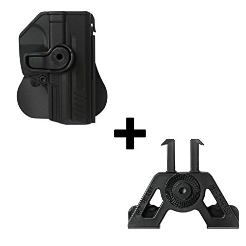 IMI Defense Tactical retention rotating 360 roto paddle polymer Holster + Molle adapter attachment for Heckler Koch H&K P30 / P2000 / VP9 / SFP9 9mm pistol handgun -