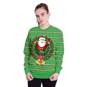 Amphia – Damen Langarm Santa Stripe Print Sweatshirt,Frauen Weihnachtsmann Streifen 3D Drucken Langarm Sweatshirt Pullover Top