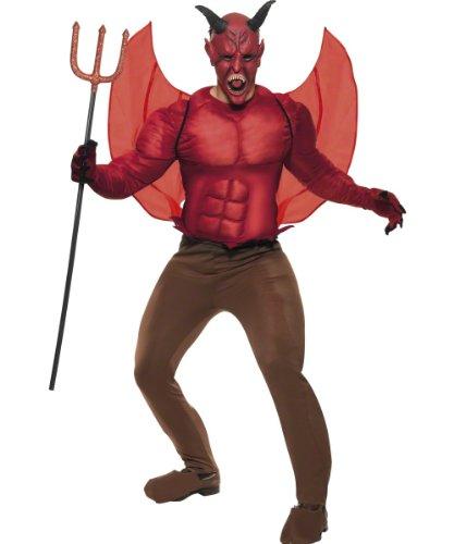 Hölle Und Party Himmel Kostüm - Teufelkostüm Kostüm Teufel Grusel Horror Satankostüm Satan Halloweenkostüm Halloween für Herren Herrenkostüm Satan Gr. 48/50 (M), 52/54 (L), Größe:L