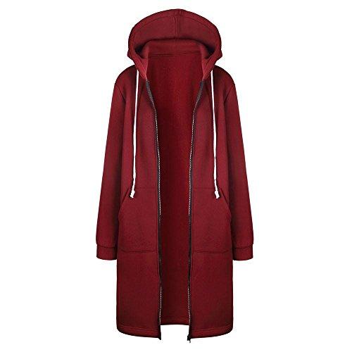 TUDUZ Damen Winter Mantel Warm Reißverschluss Öffnen Hoodies Einfarbig Beiläufig Lange Ärmel Sweatshirt Lange Mantel Tops Outwear Winter Jacke (S, Rot)