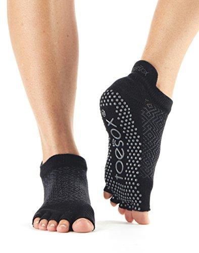 Toesox Half Toe niedrige Anstieg Griff Socken für Yoga, Pilates, Fitness rutschfeste Skid Socken - 1 Paar (Onyx, Small)