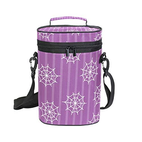 DEZIRO Picknick Weinflaschen Kühltasche Halloween Spinnennetz inkl. Weinflasche Tragetasche 2 Stück Wein Reise Tasche