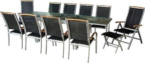 Gartentisch ausziehbar rattan  Diplomat XXL-Gartentisch ausziehbar silbermatt
