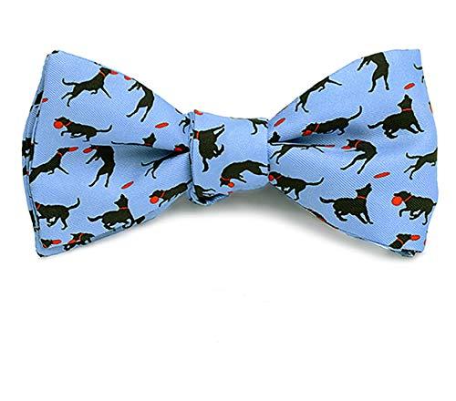 Josh Bach Mens Frisbee and Dog Self Tie Silk Bow Tie in Blue, Made in USA Blue Silk Bow Tie