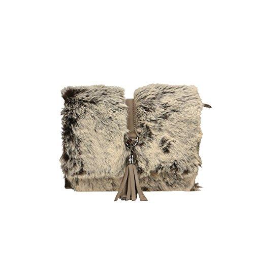 Chicca Borse Borsa a tracolla in pelle 23x16x11.5 100% Genuine Leather Fango
