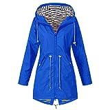 iHENGH Damen Herbst Winter Parka Mantel Warm bequem Solide Regenjacke Outdoor Jacken Wasserdicht mit Kapuze Regenmantel Winddicht Coat (EU-46/CN-XL,Blau)