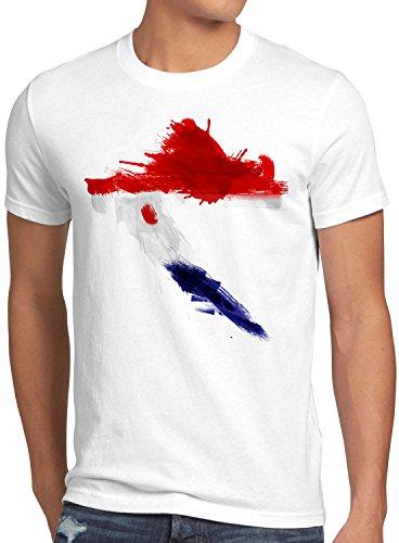 CottonCloud Flagge Kroatien Herren T-Shirt Fußball Sport Croatia WM EM Fahne, Größe:L, Farbe:Weiß