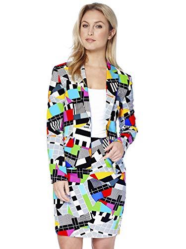 OppoSuits Damen Anzüge mit bunten Prints - Komplettes Set mit Bleistiftrock und Jacke,Größe:US10/ UK 14 / DE 40,Miss Testival
