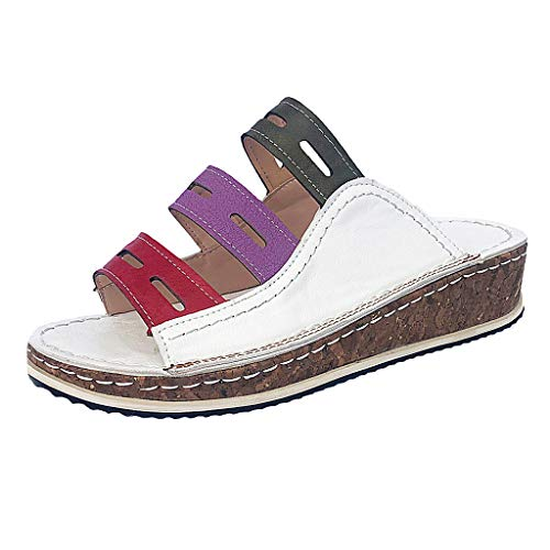 Epig Damenmode Mischfarbe Slip On Wedges Sandalen Casual Slipper Schuhe