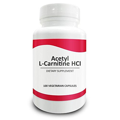 Pure Science Acetil L - carnitina HCI 525mg - Genial para tipo de cuerpo mesomorfo, inmunidad, desintoxicación y apoyo cerebral - 100 cápsulas vegetarianas de polvo de acetil L - carnitina