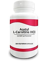 Pure Science Acetyl L-Carnitin HCI 525mg - Ideal für Mesomorph Körperbau, Immunität, Entgiftung & Gehirn - Unterstützung - 100 vegetarische Kapseln Acetyl L-Carnitin Pulver