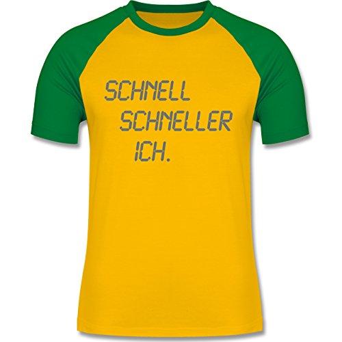 Laufsport - schnell - schneller - ich - zweifarbiges Baseballshirt für Männer Gelb/Grün