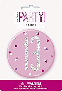 Unique Party 83528 - Insignia de cumpleaños, color rosa y plateado