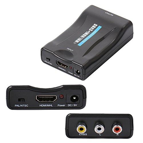Xsource Mini MHL/HDMI zu AV Konverter Konvertiert CVBS Signal Adapter Play auf CRT TV, VHS VCR, DVD unterstützt NTSC PAL AH137 (Ntsc-tv-crt)