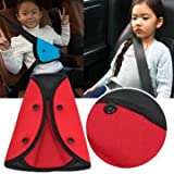 1pc Child Safety Cover Harness Strap Car Adjuster Pad Kids Seat Belt Seatbelt Clip (red)