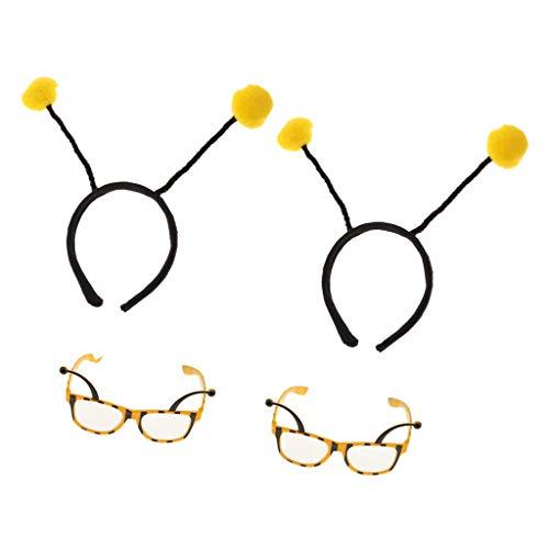 FLAMEER 4pcs Neuheit Gelb Bumble Bee Stirnband Brillen Geburtstagsfeier Zubehör (Bumble Bee Kostüme Für Frauen)