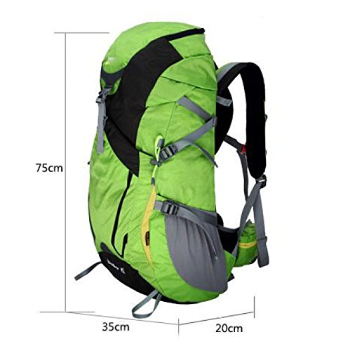 Outdoor Hiking 45L Zaino Impermeabile Borsa Da Viaggio Grande Zaino Da Trekking,Red Green