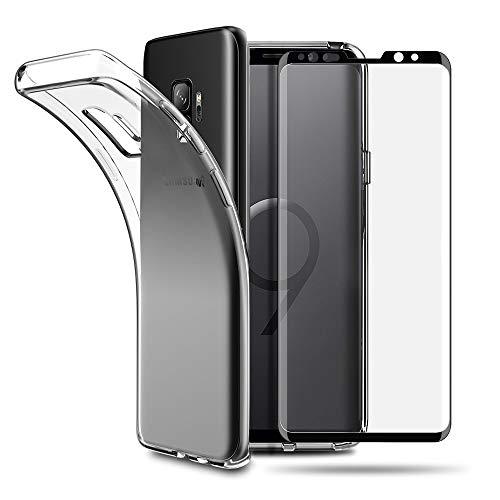 EasyAcc Hülle Case & Panzerglas 9H Schutzfolie Für Samsung Galaxy S9, Clear Transparent Handyhülle Cover Premium-TPU Durchsichtige Schutzhülle Für Samsung Galaxy S9