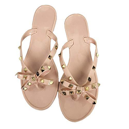 Mtzyoa Damen Sommer-Dame-Bow Slippers Rivet Art-Strand-Flip-Flops 8,5 B (M) US Nude 2 -
