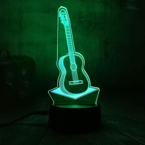 wangZJ 3d Visuelle Illusion Lampe / 3d Led Nachtlicht / 7 Farbwechsel Nachtlichter/wohnkultur/kind Weihnachtsgeschenk / 3D Gitarre Musik