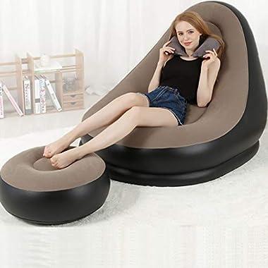 EGCLJ Aufblasbare Liege-Couch - Aufblasbare Liege Mit Fußschemel-Rest, Lounge Erwachsene Kinder Tragbare Couch Für Camping, Wandern, Reisen, Strand (Farbe : A)