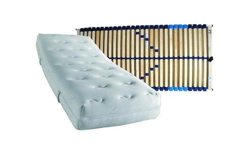 Set bestehend aus: f.a.n. Komfort Plus KS 7-Zonen Kaltschaummatratze in 90 x 200 cm im Härtegrad 3 / H3 plus Lattenrost COMFORT-FLEX verstellbar in 90 x 200 cm - sofort lieferbar