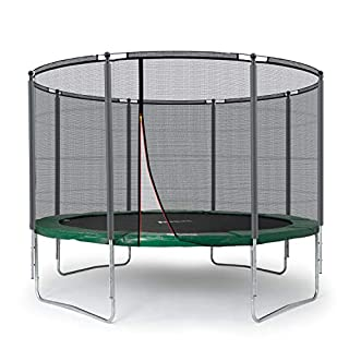 Ampel 24 Outdoor Trampolin 366 cm grün komplett mit außenliegendem Netz, Belastbarkeit 160 kg, Sicherheitsnetz mit Stabilitätsring und 8 gepolsterten Stangen